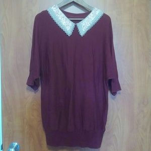 ASOS Burgundy Knit Top with Sequin Collar Size L